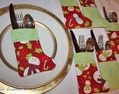 Christmas Holiday Stocking Silverware Holder Snowman Green Red Fabric
