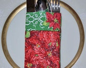 Silverware Holder Christmas Holiday Red Green Poinsetta Fabric (Set of 2)