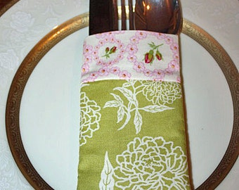 Utensil Flatware Silverware Holder Pouch Green Pink Floral Fabric