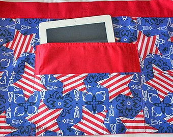 Vendor Teacher Waist Half Apron Art Craft Red White Blue Stars Stripe American Fabric (4 Pockets)