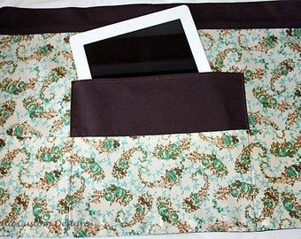 Teacher Vendor Apron Half iPad Craft Art Brown Green Rose Fabric (4 Pockets)