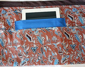 Vendor Waist Half Apron Teacher iPad Craft Art Brown Blue Fabric (4 Pockets)