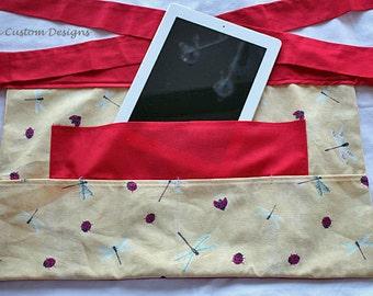 Half Apron iPad Vendor Craft Art Teacher Yellow Red Ladybug Dragon Fly Fabric (5 Pockets)