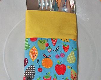 Flatware Utensil Holder Pouch Alexander Henry Fruit Fabric