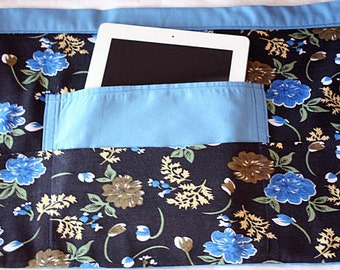Waist Half Apron iPad Art Craft Teacher Vendor Blue Black Flower Fabric (4 Pockets)