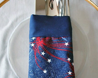 Utensil Silverware Holder Pouch Reusable July 4th Red White Blue Fireworks Fabric