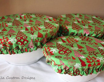 Red Green Pink Christmas Tree Fabric Food Bowl Covers Holiday Reusable (3 Pcs)