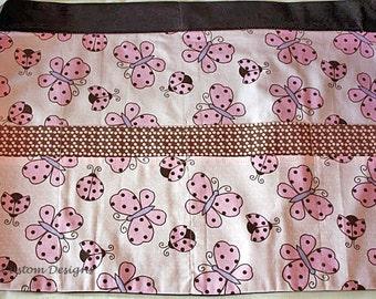 Half Apron Vendor Craft Art Teacher Nursery Pink Brown Butterfly Fabric (8 Pockets)