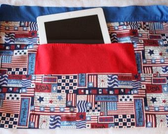 iPad Vendor Apron Craft Art Teacher Red White Blue American Flag Americana Fabric (4 Pockets)