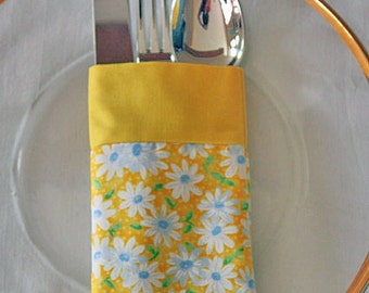 Silverware Utensil Pouch Holder Reusable Yellow White Daisies Fabric