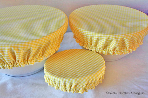 Fabric Food Bowl Container Picnic Elastic Cover Reusable Yellow Gingham (set of 3)