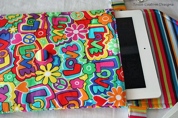 iPad Cover Case Padded Sleeve Cross Body Shoulder Bag Colorful Peace Love Fabric