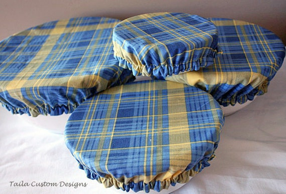 Picnic Food Bowl Covers Lids Reusable Elastic Blue Yellow Plaid Fabric (set of 4)