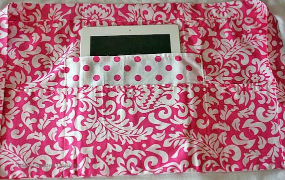 Vendor Teacher Waist Half iPad Apron Art Craft Spring Pink White Damask Polka Dot Fabric (4 Pockets)