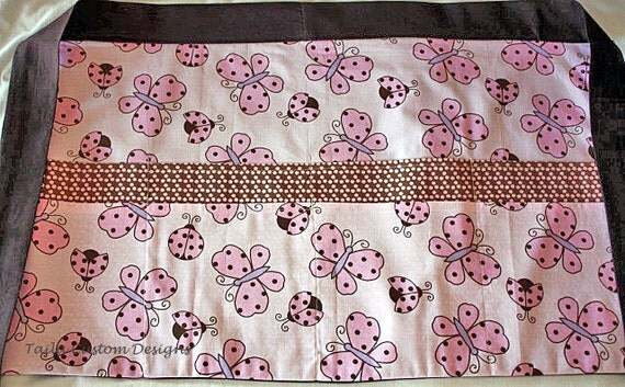 Half Apron Vendor Craft Art Teacher Nursery Pink Brown Butterfly Fabric (8 Pockets)