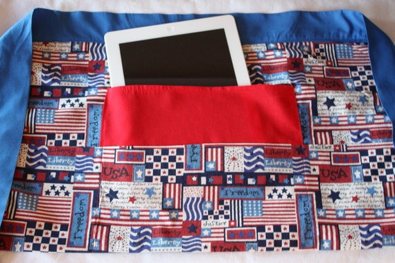 iPad Vendor Apron Craft Art Teacher Red White Blue American Flag Americana Fabric (4 Pockets)