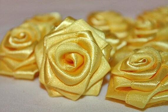 Satin Ribbon Rose Yellow (Set of 10)