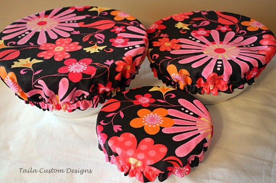 Bowl Cover Lid Elastic Reusable Picnic Brown Yellow Pink Flower Fabric (set of 3)