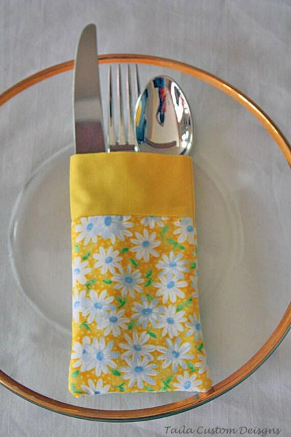 Silverware Utensil Pouch Holder Reusable Yellow White Daisies Fabric