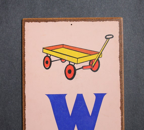 """Vintage Letter """"W""""  Flashcard Wall Plaque in Pink with Little Wagon"""