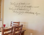 Thank you for the food we eat... Vinyl Wall Decal