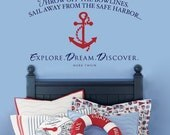 Throw off the bowlines...EXPLORE. DREAM. DISCOVER - vinyl wall decal