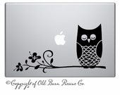 Owl on branch -laptop notebook computer decal vinyl graphic sticker art SignTransfer
