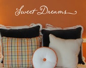 Vinyl Wall Decal - Sweet Dreams lettering design wall art decal