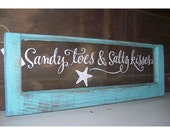 Sandy toes and salty kisses shabby beach tiffany blue and white vintage window wall decor