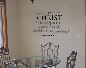 Christ is the center of our home...vinyl wall lettering calligraphy words quotes custom decor art decals sticker custom old barn rescue