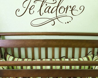 Je t'adore - vinyl wall lettering art decal