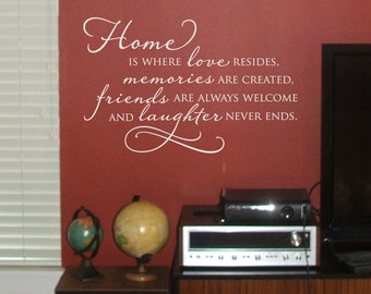 Vinyl Wall Decal - Home is where love resides...alternate version