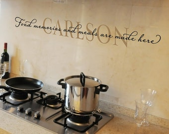 Personalized Gift for Mom - Fond memories and meals are made here - Family Name Wall Decal - Kitchen Quote