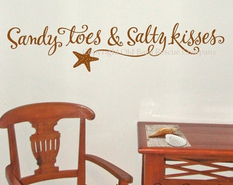Beach Wall Decal, Sandy toes and Salty kisses, Ocean Wall Decal, Starfish Decal, wall words vinyl lettering