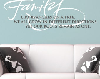 Family wall decal, like branches on a tree, family quote decal, wall decal