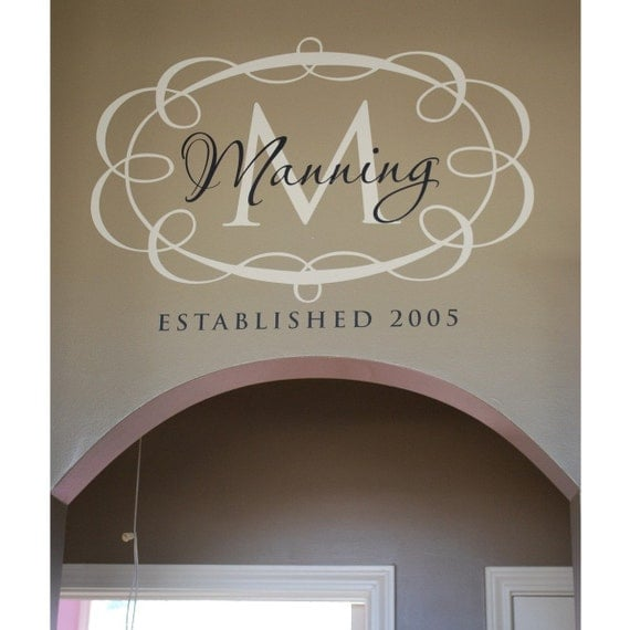 Personalized family established sign -  vinyl wall graphic lettering custom decor art decals custom old barn rescue