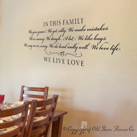 In this family...we live love vinyl wall decal