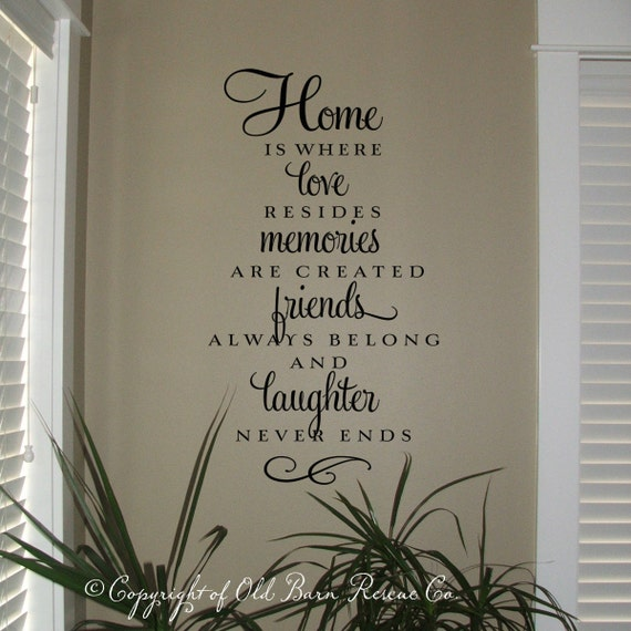 Home is where love resides Vinyl Wall Decal, Home is where love resides Wall Decal, Vinyl Wall Decal, Home Quote, Wall Art