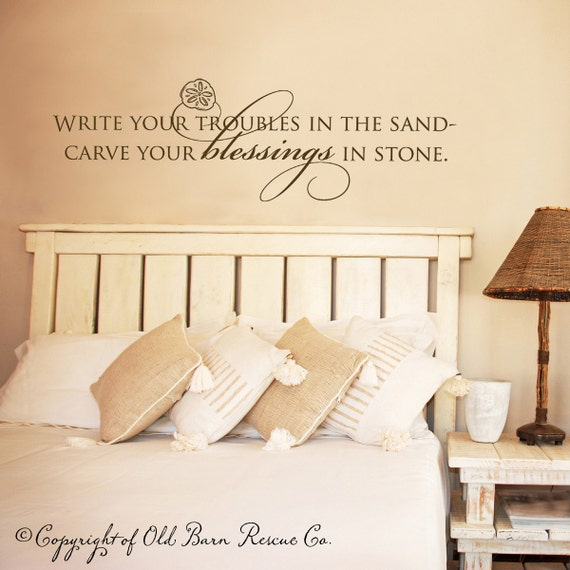 Write your troubles in the sand with sand dollar - wall graphic lettering art decal old barn rescue company