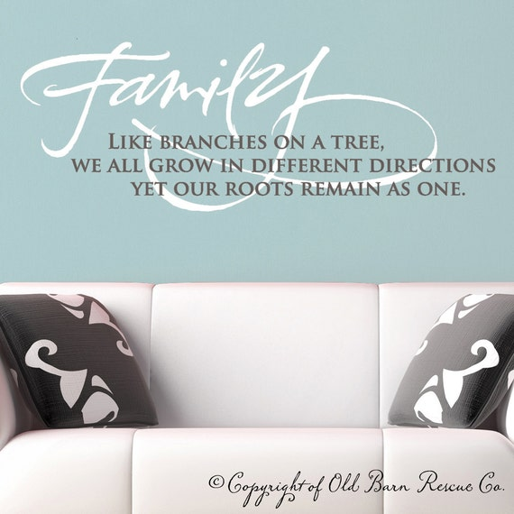 Family like branches on a tree Wall Vinyl Decals Art Graphics Sticker