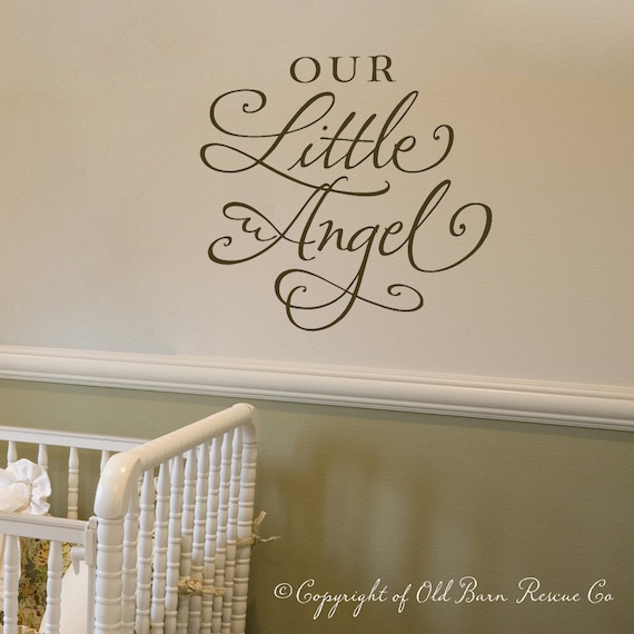 Our Little Angel - vinyl lettering calligraphy wall decal nursery art design