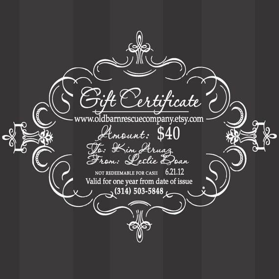 Custom order for Leslie Doan - gift certificate