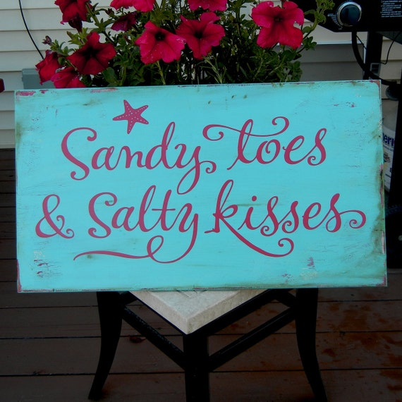 Sandy Toes & Salty Kisses with Starfish - sign on reclaimed wood Red on Teal distressed board
