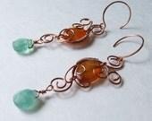 Copper earrings with carnelian and fluorite