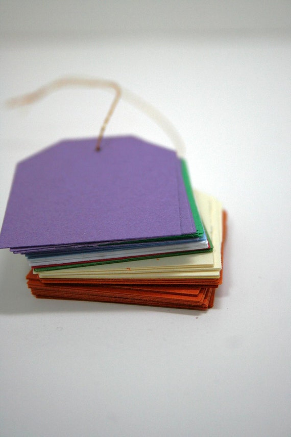 Tags Hand Punched Scrapbook, Gift, Hang or Merchandise Tag Set of Fifty 50 Upcycled