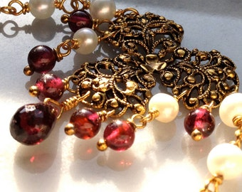 Garnet and Pearl Baroque style necklace. Delicate white pearl necklace in 14k GF, vintage rococo pendant with garnet beads and pearls