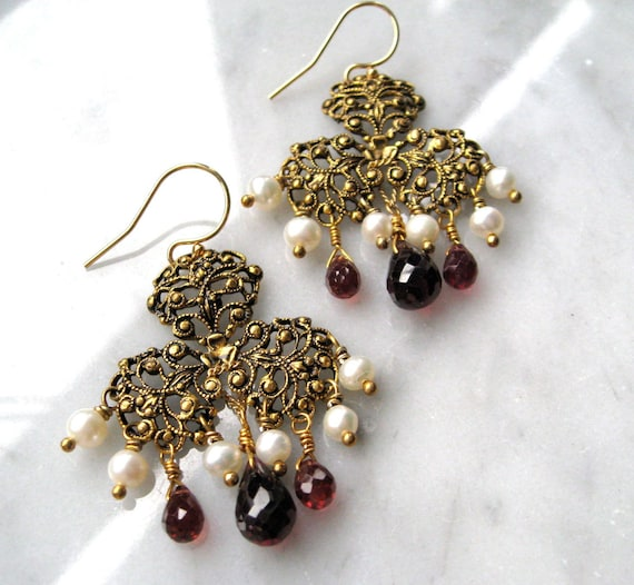 Garnet and Pearl Baroque style earrings, with vintage rococo pendants, garnet briolettes, fw pearls