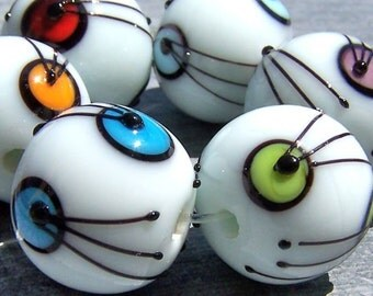 MruMru Handmade Lampwork Glass Bead set. A bit of COLOR. Sra.
