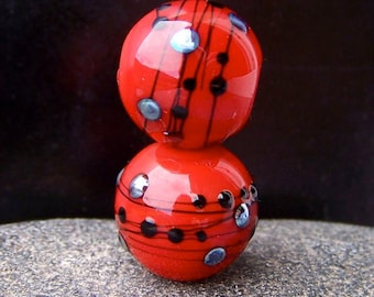 "MruMru Handmade Lampwork Glass Bead Earring Pair ""Posh RED"" Sra. Many colors available."