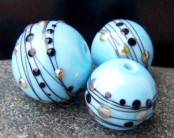 "MruMru Handmade Lampwork Glass Bead Earring Pair plus Focal TRIO ""Posh SKY BLUE"" Sra. Many colors available."